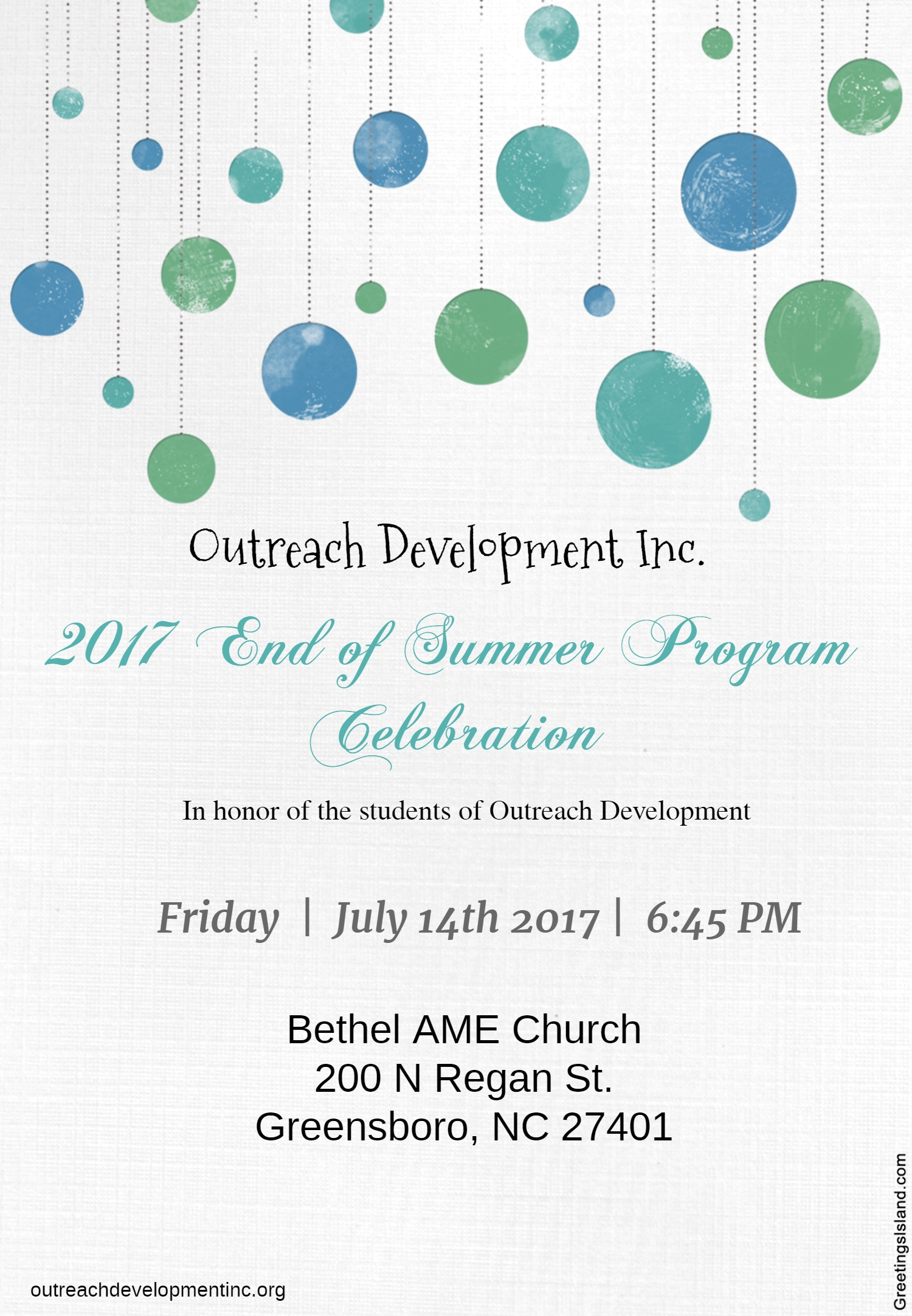 Outreach Development 2017 End of Summer Program Celebration